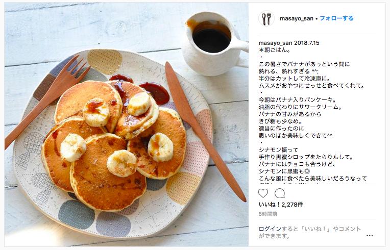 世界のおしゃれな朝食 バナナ入りパンケーキ サワークリーム添え レシピ・作り方