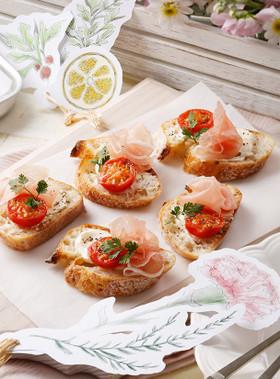 イタリアンの朝ごはん レシピ 焼きトマトと生ハムのクロスティーニ
