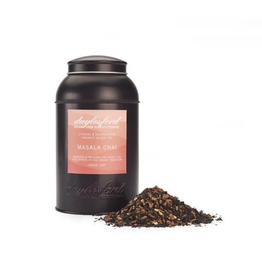 海外の輸入紅茶 イギリス daylesford ORGANIC MASALA CHAI LOOSE LEAF TEA CADDY 220G  マサラチャイ