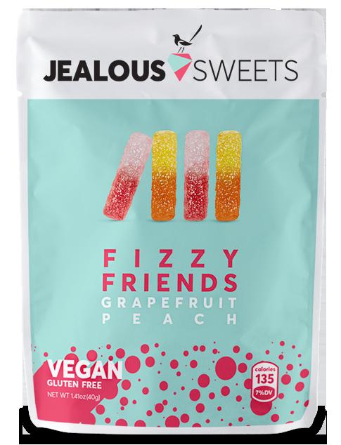 海外の輸入お菓子 グミ イギリス JEALOUS Sweets Fizzy Friends グレープフルーツ ピーチ グミ ビーガン